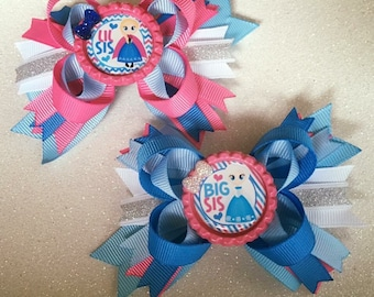 Big Sis and Little Sis mini stacked bow set princess pink blue bottle cap