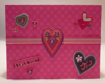 I Love You Bright Hearts Valentine's Day Card