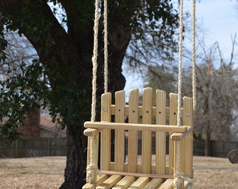 LARGE SIZE PINE Kids Wooden Swing, Backyard Outdoor Toys, Toddler and Baby Swing, Tree Swing, Old Fashioned Handmade Children Toys