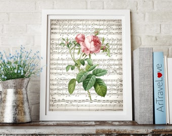 Pink Rose Flower Sheet Music Art Print