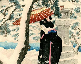 Japanese winter art, Snow at the Shrine Shinsui Ito FINE ART PRINT, Japanese prints, art posters, paintings, woodblock prints reproductions