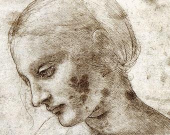 Head Of Madonna Litta Leonardo da Vinci FINE ART PRINT, antique art prints, Da Vinci sketches, studies, drawings, paintings reproductions