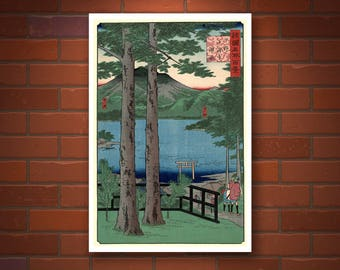 White Crane Flying across the Sun Fine Art Print Japanese Print Reproductions