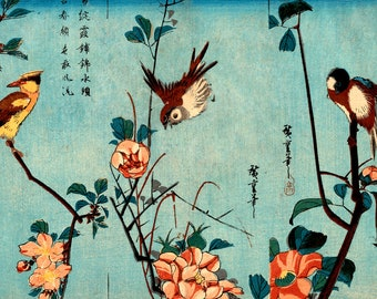 Japanese art, Hiroshige art prints, Bird and Flower paintings, Titmouse and Camellias FINE ART PRINT, japanese woodblock print reproduction