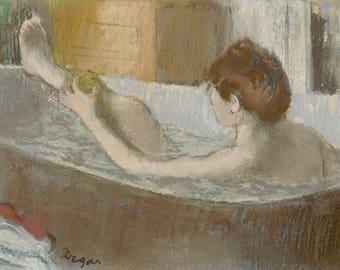 Bathing Woman Edgar Degas Paintings Drawings Vintage Art Prints Posters European Painting Impressionist Antique FINE ART PRINT