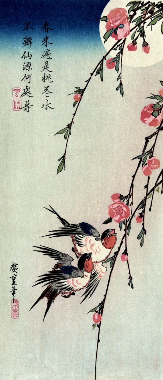 Utagawa Hiroshige Poster Japanese Print Wisteria and a bird