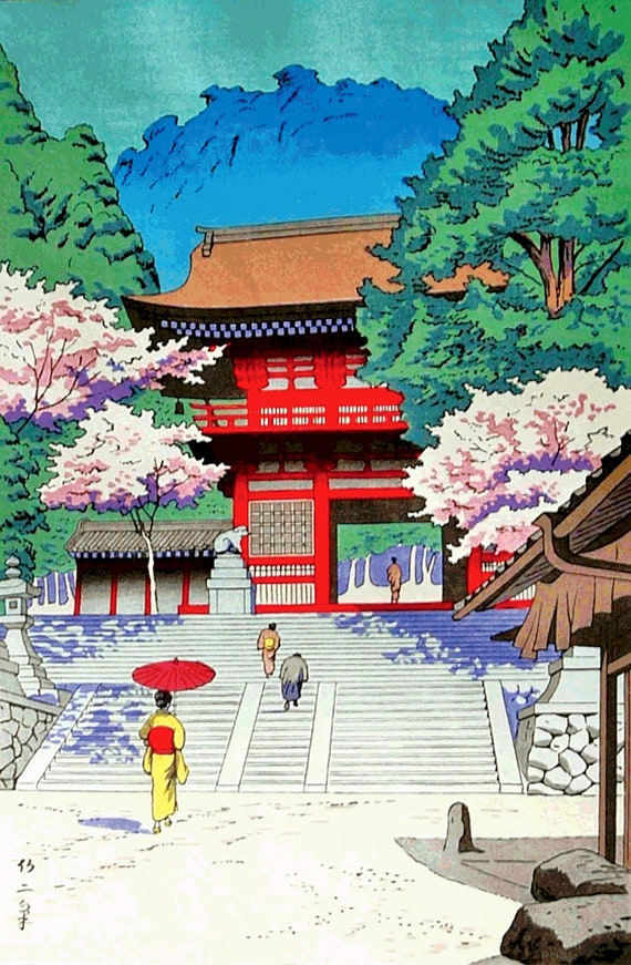 JAPANESE WOODBLOCK CHERRY BLOSSOM TREE PARK NEW Poster Painting Canvas art