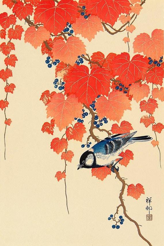 ART PRINT POSTER PAINTING JAPANESE BIRD FLOWERS FLORAL NOFL0774