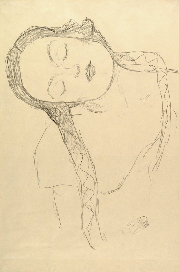 European art Gustav Klimt drawings Half-figure of a Young   Etsy