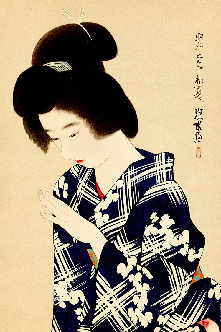 Japanese art prints Beauty wearing takasago kimono Shinsui | Etsy