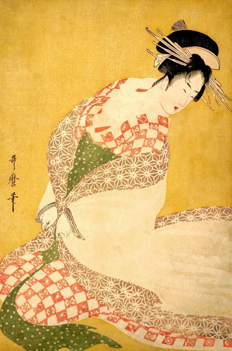 Japanese geisha dressing Beautiful woman in kimono Kitagawa | Etsy