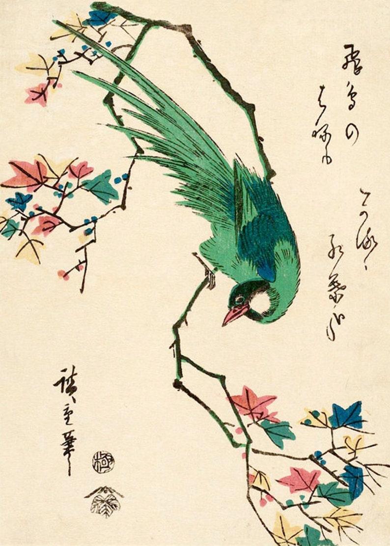 9d8d6a8a317 Japanese birds art prints Green Pheasant Hiroshige FINE ART
