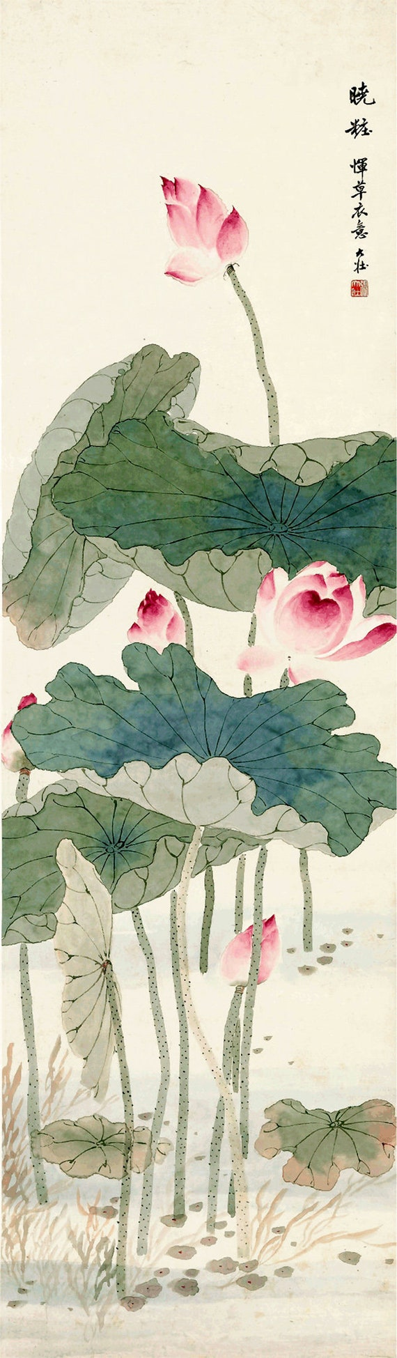 Chinese Art Lotus Watercolour Painting By Zhang Dazhuang Fine Etsy