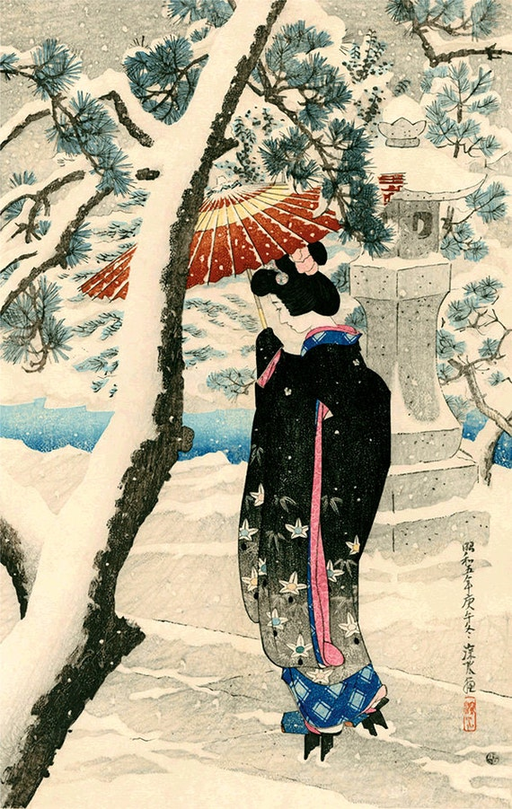 A woman with a parasol in snow Japanese Art Print Fine Art Reproduction