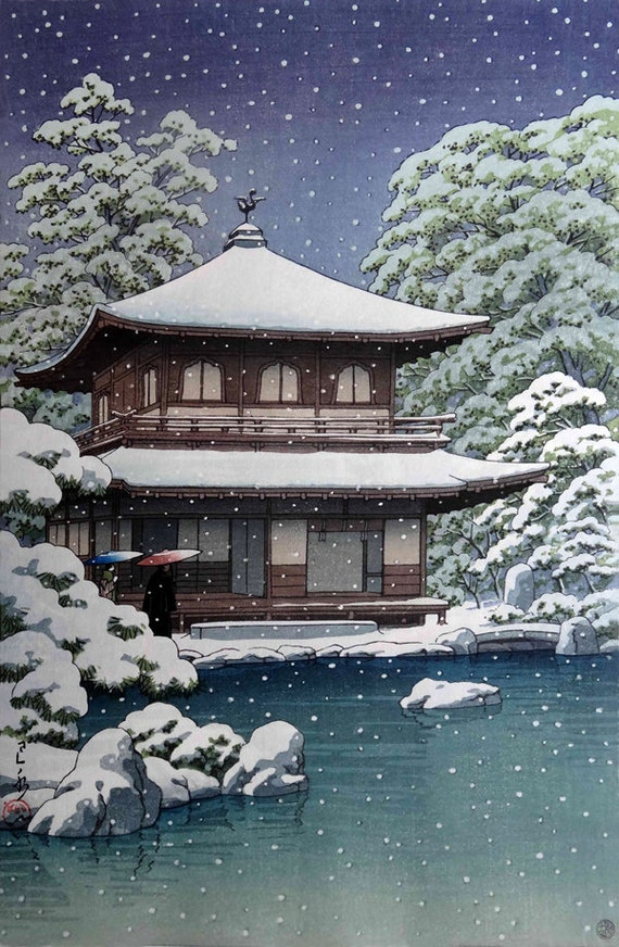 CULTURAL LANDSCAPE JAPAN TEMPLE KAWASE HASUI SNOW WINTER Canvas art Prints