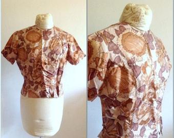 Vintage blouse // Vintage silk top // Vintage floral shirt // Midcentury blouse // medium, M, 8