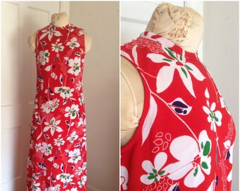 Sixties vintage red floral maxi dress // medium 8 10 tropical sleeveless 1960