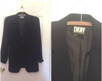 Vintage 1990s DKNY black wool blazer jacket // small 6 designer coat blazer suit workwear nineties 30 percent off