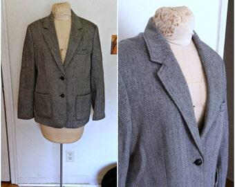 Vintage 1970s black & white wool herringbone jacket, size extra large, xl 12 14 16 vintage coat, vintage jacket, vintage clothing for women