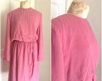 Eighties pink tulip hem vintage dress // extra large, plus size 16 18 xl 1x dusty rose fit and flare