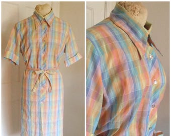 Vintage seventies shirt dress, pastel dress, vintage plaid dress, vintage plus size, size 18, 20, 2X, xxl