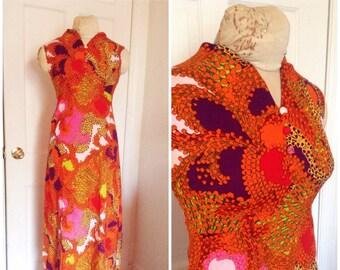 Vintage Sixties maxi dress, groovy Sixties dress, psychedelic print dress, vintage dress size extra small, xs, 0, 2, 4, 1960s