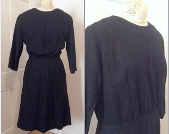 Vintage volup dress // Vintage black dress // Vintage wool dress // extra large, XL, XXL, 14, 16, plus