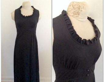 1970s Black Ruffle Maxi Vintage Dress // medium, large 6 8 10 long gown seventies