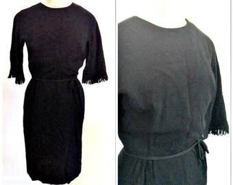 Vintage designer LBD // Mad Men style // Vintage cocktail dress // extra small, small, XS, S, 0, 2, 4