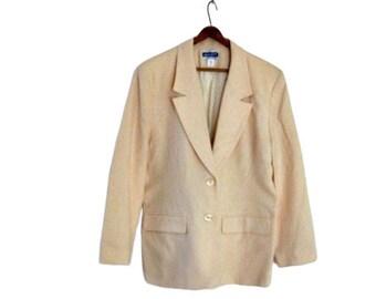 1970s Cream Wool Vintage Jacket, size large 10 12 white jacket, wool jacket, vintage clothing for women, coat for women