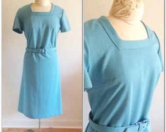 Sixties Vintage Blue Shift Dress // large 10 12 sexy mod wiggle dress sixties belted gift for her