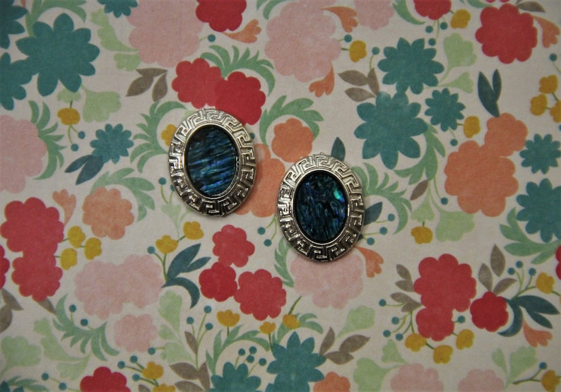 Blue and Green Oval Stone with Light Gray Stud Earrings!