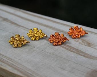 Gold or Burnt Orange Fall Leaf Earrings