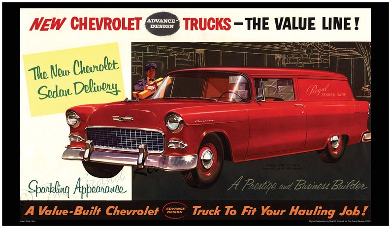 Vintage Truck Print - 1955 Chevy Sedan Delivery - Cherry Red