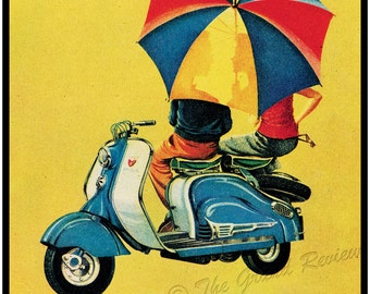 Vintage Lambretta Scooter Print - Young Lovers - Scooter Date - La Scooter Perfecta