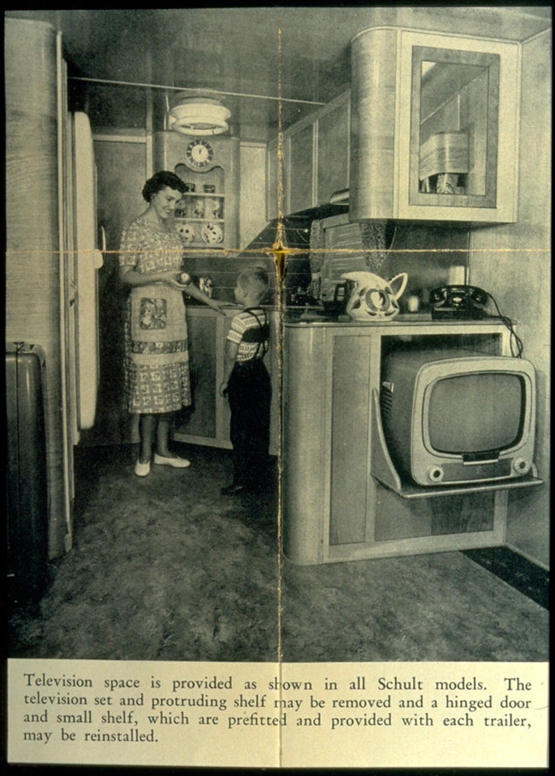 Residential Interior Project Has Modern Yet Vintage Take: Vintage Trailer Print 1950s Schult Mobile Home Interior