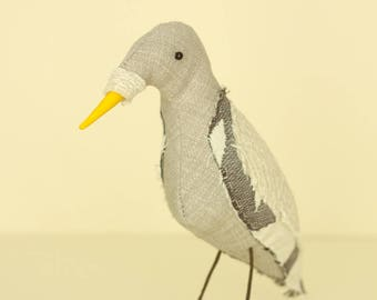 Grey Bird soft sculpture textile art