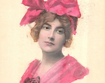Vintage Schlesinger Bros hand colored beautiful girl postcard    about 1910 (unused)