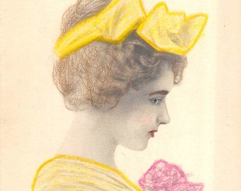 Antique Schlesinger Bros hand colored pretty girl postcard yellow hair bow       about 1910 (unused)