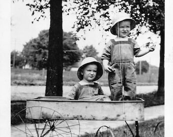 Vintage photo toddler boys in an antique wagon    dated 1926
