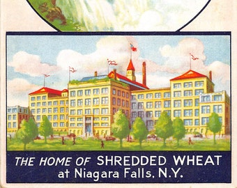 """Advertising postcard """" Home of Shredded Wheat""""  Niagra Falls, NY  about  1930 postally unused"""