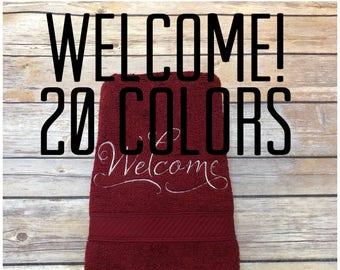 Welcome Towels, guest towels, hand towels, bath towels, bath mats, august ave, bathroom, you pick the size, custom towels, powder room