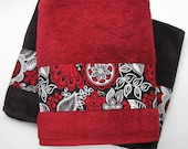 Custom Towels, hand towels, towel sets, You Pick Size and Color, custom towels, red black, towel rack, decorated towels, august ave, red