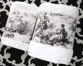 Toile D 39 Jouy Towels, hand towels, bath towels, french country, bathroom, custom towels, bath decor, towels, toile, august ave, towel bar