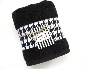 You Pick Size Bath Towels, Hand Towels, Bath Towels Sets, Custom Towels,  Black, Hounds Tooth, Black Bathroom, Black Towel, Houndstooth,