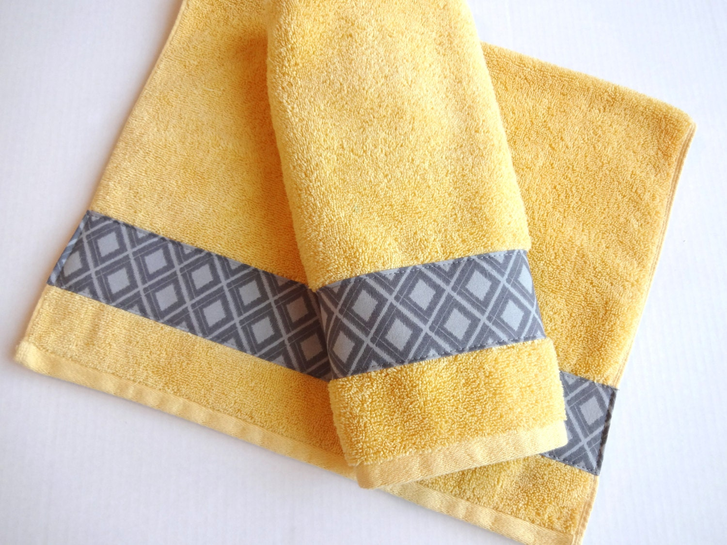 yellow towels yellow and grey yellow yellow towels grey etsy. Black Bedroom Furniture Sets. Home Design Ideas