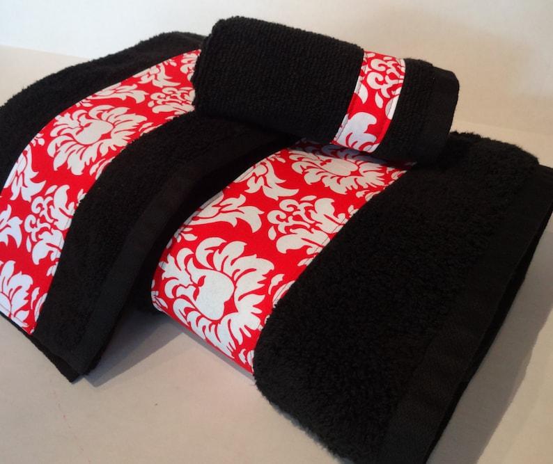 Schwarz Und Rot Damast Handtucher Bad Handtucher Rot Und Etsy
