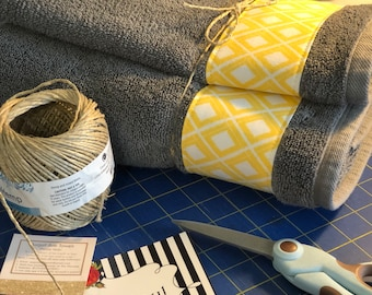 Yellow and Grey Bath Towels, yellow and grey, yellow and gray, yellow bathroom, grey bathroom, decorated towels, august ave, hand towel,