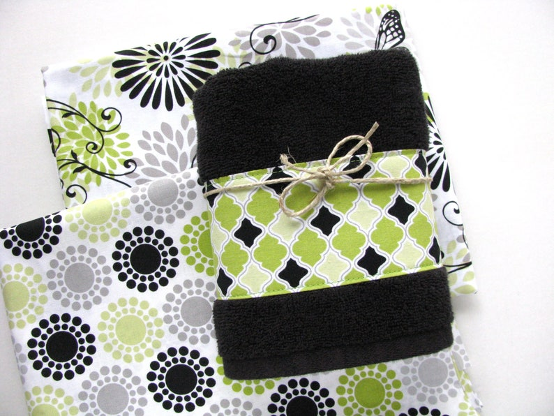 Vert lime vert et noir lime éponge vert serviettes noirs | Etsy