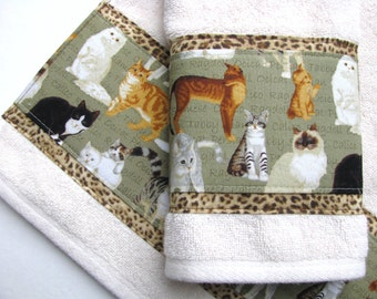 Bath Towels, towel sets, bath towels, Leopard towels, custom towels, decorated towels, august ave, cats, cat lover, gift, bathroom, cat lady